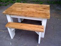 FARMHOUSE TABLE 2 benches heavy with rustic thick tops SHABBY CHIC app 4ft x 3ft
