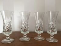 4 x Vintage Crystal Sherry Glasses - Maker Unknown
