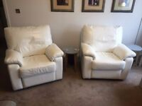 DFS Cream/White Leather Recliner Chairs (2) - Immaculate Condition