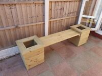 Handmade Large 7ft double planter Bench.