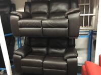NEW/EX DISPLAY LazyBoy BROWN LEATHER FINCHLEY 3 + 2 SEATER ELECTRIC RECLINER SOFAS, 70% Off RRP