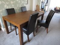 Solid wood Dining Table 150cm x 90cm & 4 faux leather dark brown chairs