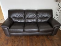 Dark brown leather 3 seater sofa and armchair recliner