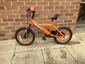 Kids bike orange 14 inch wheel with stabilisers