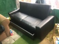 2 Seater Black Leather Sofa Bed