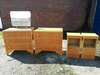 Wooden bedroom set, 2 x drawers and 2 x bedside cabinets, delivery available