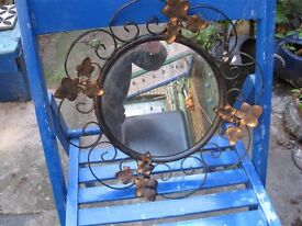 Cast iron vintage wall mirror