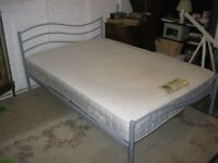 MODERN ORNATE METAL DOUBLE BED, SLATTED BASE, WITH COMFORTABLE MATTRESS. VIEW/DELIVERY POSSIBLE