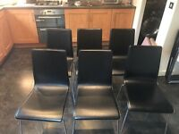 habitat black leather dining chair x6