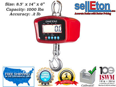 Crane Scale Heavy Duty Industrial Warehouse Digital 1000 Lbs X .2 Lb