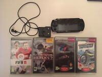 Sony PSP -3003 Slim & Lite black console bundle, games