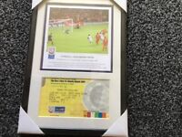 Liverpool framed picture and ticket