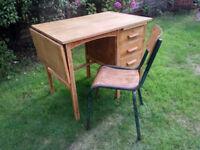 Refurbished Vintage Mid Century Partridge & Cooper Blonde Oak Lockable Pedestal Loft Desk