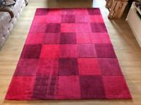 Chequered red rug