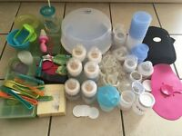 Bundle of bottle feeding and weaning items (bottles, steriliser, weaning trays, pots, spoons etc)