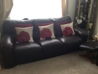 2 x 3 SEATER SOFAS BROWN LEATHER IN EX CONDITION