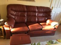 For Sale G plan 3 seat leather sofa and two arm chairs