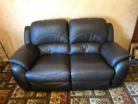 Brown dfs leather reclining sofa and armchair