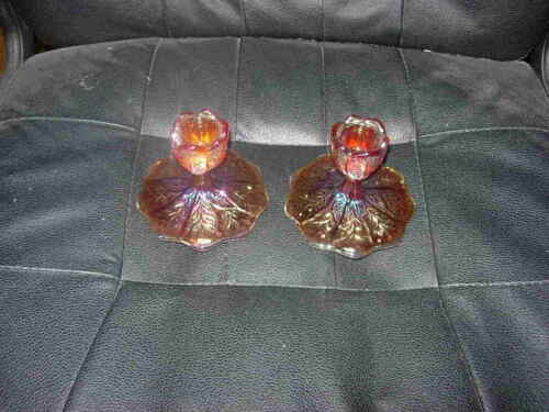 Vintage Pair Imperial Red Carnival Glass Acanthus Leaf Candlestick Holders