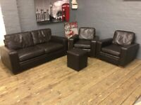 Next sofa real leather 2-1-1 brown leather sofa set + footstool deliver free MCR £299