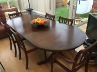 LARGE EXTENDING DINING TABLE & 6 CHAIRS - BARGAIN £50