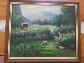 Original Colourful Cottage Countryside Oil Painting with Frame