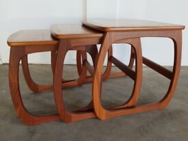 NATHAN FURNITURE CLASSIC RANGE BURLINGTON TEAK NEST OF TABLES DELIVERY AVAILABLE