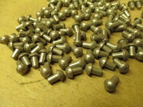 """1/8"""" x 1/4"""" Solid Round Head Steel Rivets 100 Pcs. U.S.A."""