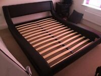 Black, King Size, Faux Leather Bed Frame