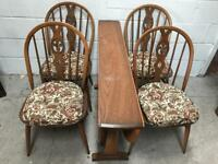 Vintage Ercol dining table and 4 Chairs