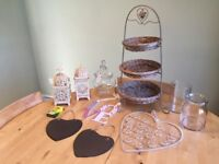 Wicker wedding cake stand + matching accessories