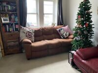 HARVEYS Brown Microfibre Brushed Suede 3 Seater Sofa Good condition