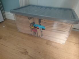 Large box of wooden train track and accessories