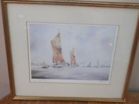 "Framed and glazed signed Peter Toms print entitled, ""Down River."""