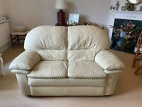 2 SEATER CREAM LEATHER SOFA & MATCHING CHAIR