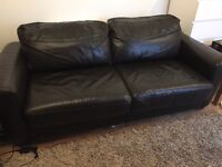 2.5 seater Furniture Village Brown Leather Sofa Bed