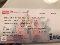3 Tickets for England v South Africa - Natwest TT20 The Ageas Bowl - Wed 21st June