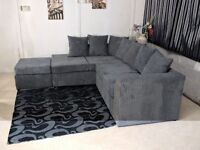 new right arm Dylan black grey jumbo cood corner sofa