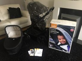 Joie Chrome pushchair carrycot, instructions and raincover
