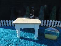SOLID PINE FARMHOUSE COFFEE TABLE PAINTED WITH LAURA ASHLEY PALE DOVE AND WAXED FOR PROTECTION