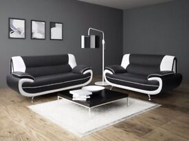 BRAND NEW CAROL FAUX LEATHER 3+2 SEATER SOFA SET IN BLACK WHITE RED BROWN CREAM GREY COLOR