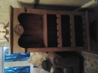 tall pine bookcase, wine rack