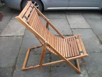 Hardwood deckchair,traditional construction with slatted back.