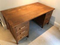 Vintage oak desk with drawers