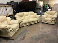 REAL LEATHER SOFA SET IN EXCELLENT CONDITION 3-1-1 seater