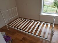 Off white metal single bed frame