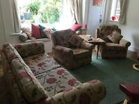 Four seater settee and two chairs well made recently recovered
