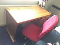 Pine Solid wood study desk table and very comfortable chair
