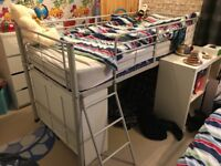 Mid sleeper single bed with ladder