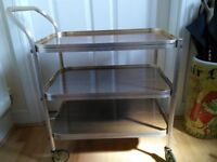 Vintage 3 Tier gold & wood coloured hostess / drinks trolley